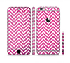 The Pink & White Sharp Glitter Print Chevron Sectioned Skin Series for the Apple iPhone 6