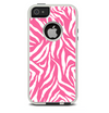 The Pink & White Vector Zebra Print Skin For The iPhone 5-5s Otterbox Commuter Case