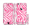 The Pink & White Vector Zebra Print Sectioned Skin Series for the Apple iPhone 6 Plus