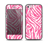 The Pink & White Vector Zebra Print Skin Set for the iPhone 5-5s Skech Glow Case