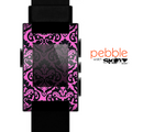 The Pink & Black Delicate Pattern Skin for the Pebble SmartWatch