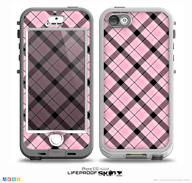The Pink & Black Plaid Skin for the iPhone 5-5s NUUD LifeProof Case for the LifeProof Skin