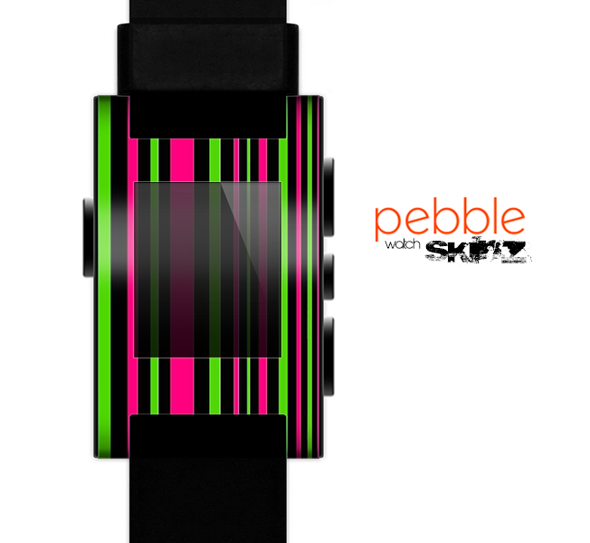 The Pink & Green Striped Skin for the Pebble SmartWatch