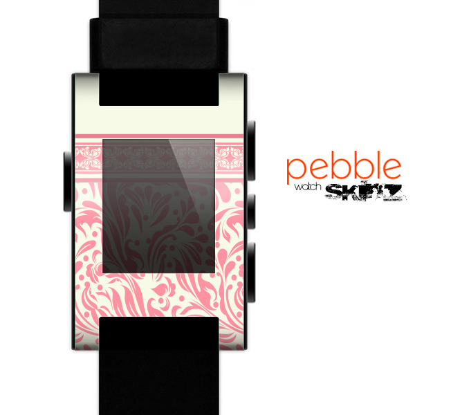 The Pink & Tan Polka Dot Pattern V1 Skin for the Pebble SmartWatch