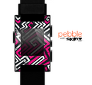 The Pink & White Abstract Maze Pattern Skin for the Pebble SmartWatch
