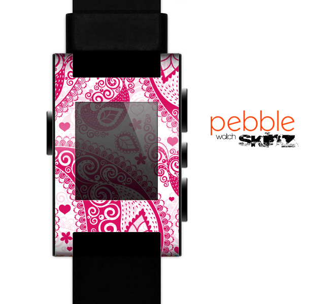 The Pink & White Paisley Pattern V421 Skin for the Pebble SmartWatch