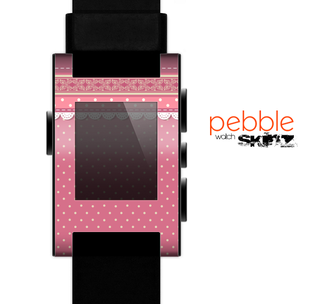 The Pink & White Polka Dot Pattern V4 Skin for the Pebble SmartWatch