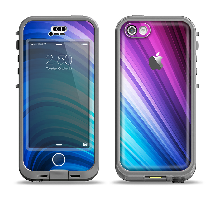 The Pink and Blue Glowing Neon Wave Apple iPhone 5c LifeProof Nuud Case Skin Set