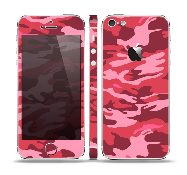 The Pink and Red Tradtional Camouflage Skin Set for the Apple iPhone 5