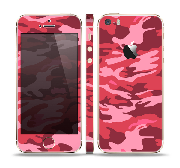 The Pink and Red Tradtional Camouflage Skin Set for the Apple iPhone 5s