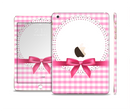 The Pink and White Plaid with Lace and Ribbon Full Body Skin Set for the Apple iPad Mini 3