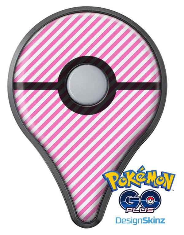 The Pink and White Slanted Stripes Pokémon GO Plus Vinyl Protective Decal Skin Kit