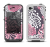 The Pink and White Solid Flowers Apple iPhone 4-4s LifeProof Fre Case Skin Set