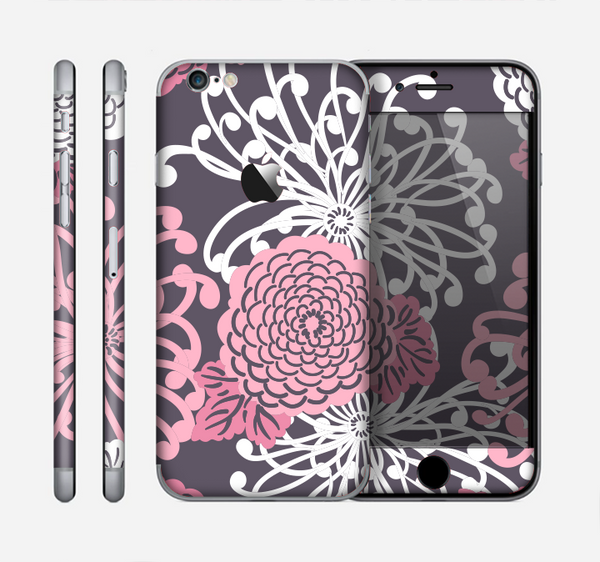 The Pink and White Solid Flowers Skin for the Apple iPhone 6