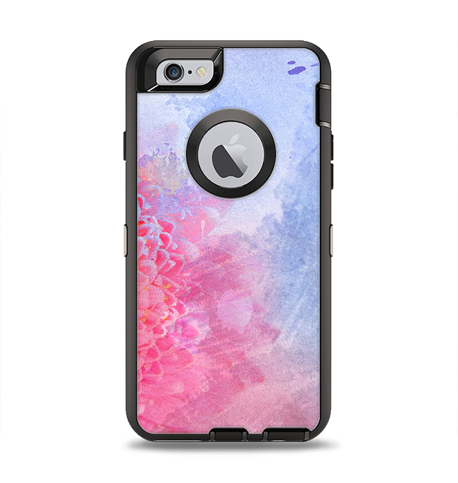 newest f0568 2919b The Pink to Blue Faded Color Floral Apple iPhone 6 Otterbox Defender Case  Skin Set