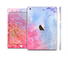 The Pink to Blue Faded Color Floral Full Body Skin Set for the Apple iPad Mini 3