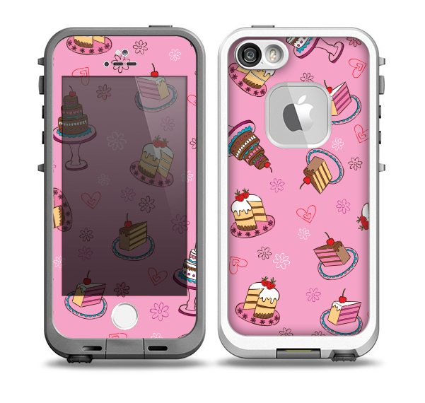 The Pink with Yummy Cakes Skin for the iPhone 5-5s fre LifeProof Case