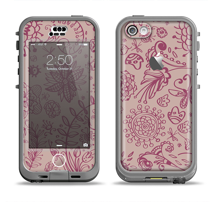 The Puprle and Light Pink Sketched Lace Patterns v21 Apple iPhone 5c LifeProof Nuud Case Skin Set