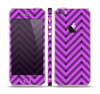 The Purple & Black Sketch Chevron Skin Set for the Apple iPhone 5s