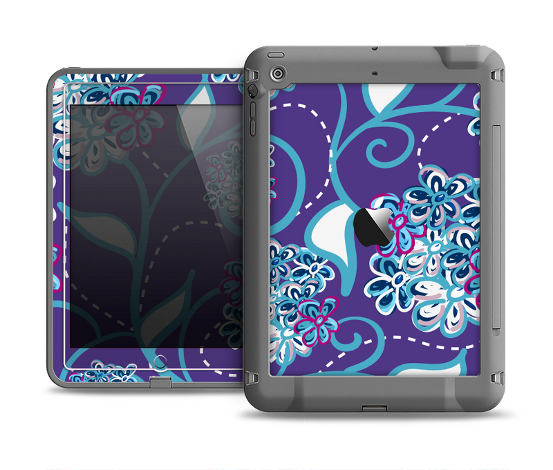 The Purple & Blue Vector Floral Design Apple iPad Air LifeProof Fre Case Skin Set
