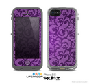 The Purple Bright Lace Pattern Skin for the Apple iPhone 5c LifeProof Case