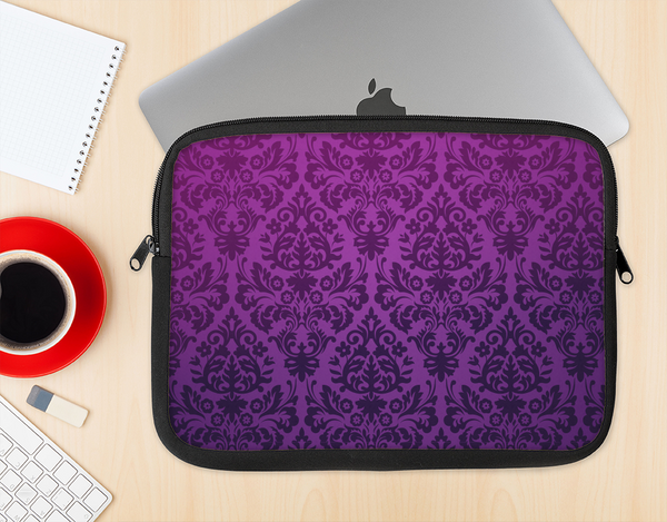 The Purple Delicate Foliage Pattern Ink-Fuzed NeoPrene MacBook Laptop Sleeve