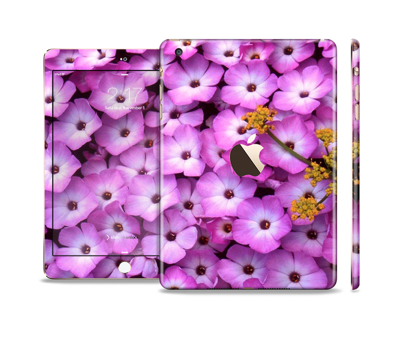 The Purple Flowers Full Body Skin Set for the Apple iPad Mini 3