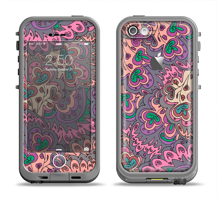 The Purple, Green, and Blue Vector Floral Pattern Apple iPhone 5c LifeProof Fre Case Skin Set
