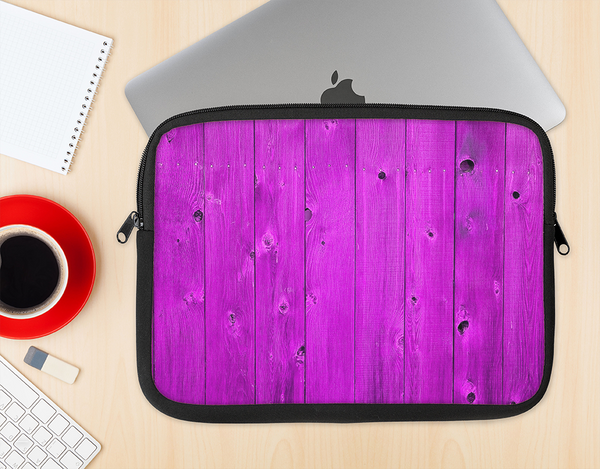 The Purple Highlighted Wooden Planks Ink-Fuzed NeoPrene MacBook Laptop Sleeve