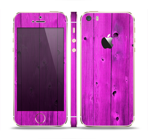 The Purple Highlighted Wooden Planks Skin Set for the Apple iPhone 5s
