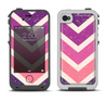 The Purple Scratched Texture Chevron Zigzag Pattern Apple iPhone 4-4s LifeProof Fre Case Skin Set