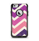 The Purple Scratched Texture Chevron Zigzag Pattern Apple iPhone 6 Otterbox Commuter Case Skin Set
