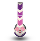 The Purple Scratched Texture Chevron Zigzag Pattern Skin for the Beats by Dre Original Solo-Solo HD Headphones