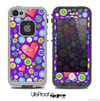 The Purple Vintage Vector Heart Buttons Skin for the iPhone 4 or 5 LifeProof Case
