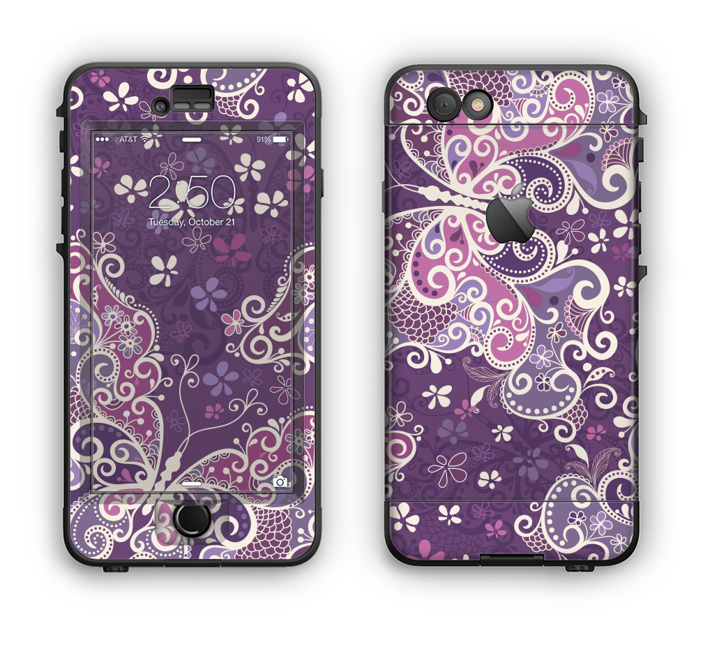 9f721e46ae55fb The Purple   White Butterfly Elegance Apple iPhone 6 Plus LifeProof Nu -  DesignSkinz
