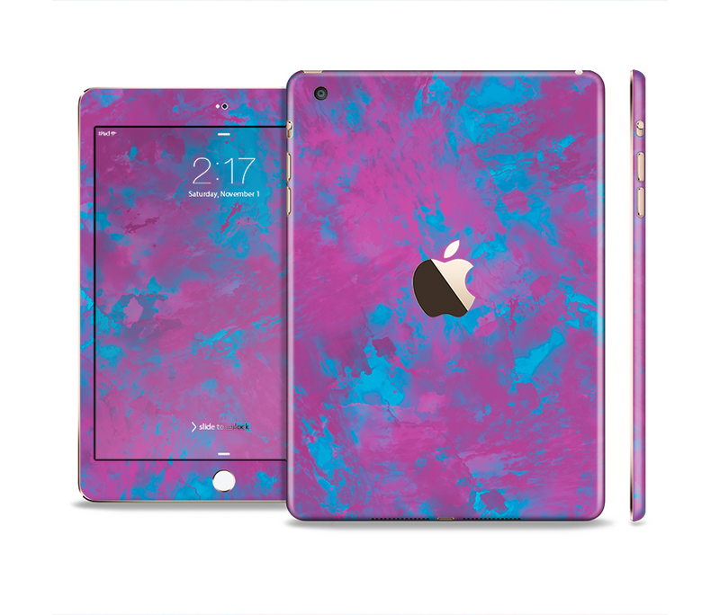 The Purple and Blue Paintburst Full Body Skin Set for the Apple iPad Mini 3