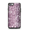 The Purple and Gray Stripes with Overlapping Floral Apple iPhone 6 Otterbox Symmetry Case Skin Set