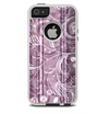 The Purple and Gray Stripes with Overlapping Floral Skin For The iPhone 5-5s Otterbox Commuter Case