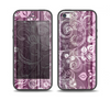The Purple and Gray Stripes with Overlapping Floral Skin Set for the iPhone 5-5s Skech Glow Case