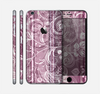 The Purple and Gray Stripes with Overlapping Floral Skin for the Apple iPhone 6 Plus