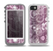 The Purple and Gray Stripes with Overlapping Floral Skin for the iPhone 5-5s OtterBox Preserver WaterProof Case