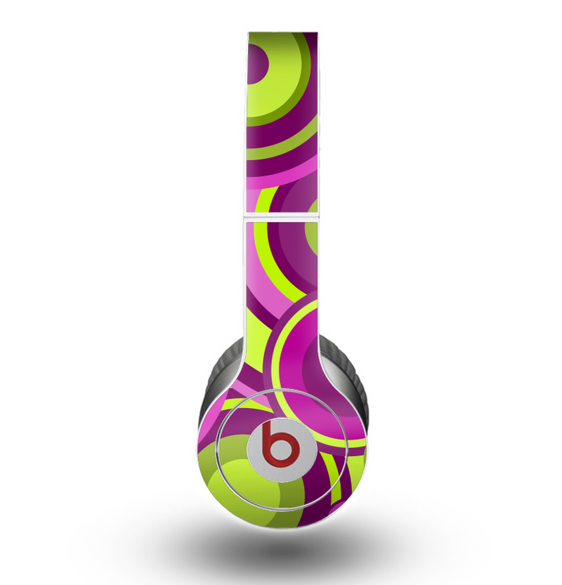 The Purple and Green Layered Vector Circles Skin for the Beats by Dre Original Solo-Solo HD Headphones