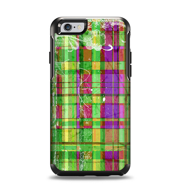 The Purple and Green Plad with Floral Pattern Apple iPhone 6 Otterbox Symmetry Case Skin Set