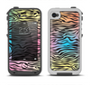 The Rainbow Colored Vector Black Zebra Print Apple iPhone 4-4s LifeProof Fre Case Skin Set
