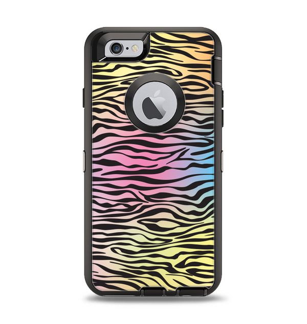 The Rainbow Colored Vector Black Zebra Print Apple iPhone 6 Otterbox Defender Case Skin Set