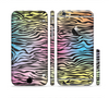 The Rainbow Colored Vector Black Zebra Print Sectioned Skin Series for the Apple iPhone 6 Plus