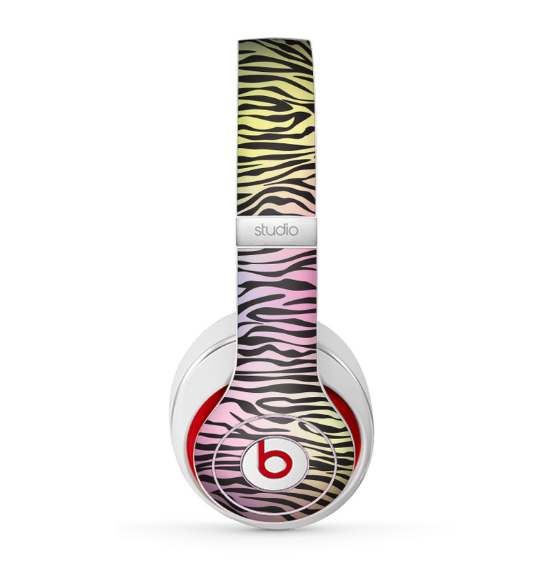The Rainbow Colored Vector Black Zebra Print Skin for the Beats by Dre Studio (2013+ Version) Headphones