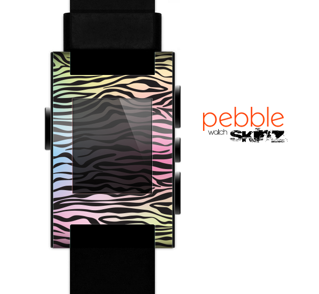The Rainbow Colored Vector Black Zebra Print Skin for the Pebble SmartWatch es