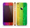 The Rainbow Highlighted Wooden Planks Skin Set for the Apple iPhone 5s