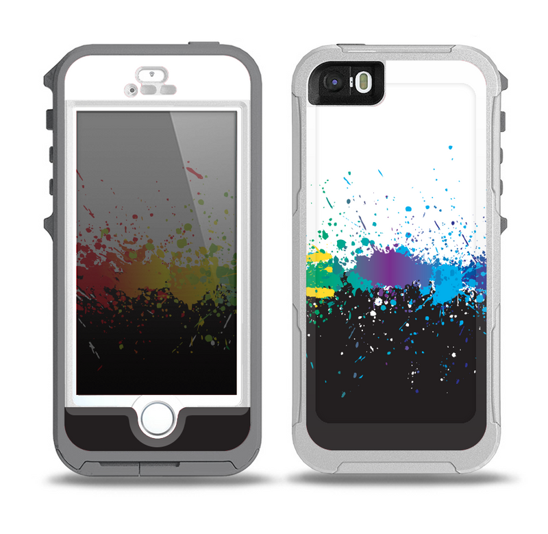The Rainbow Paint Spatter Skin for the iPhone 5-5s OtterBox Preserver WaterProof Case